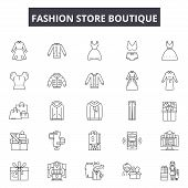 Fashion Store Boutique Line Icons, Signs Set, Vector. Fashion Store Boutique Outline Concept, Illust poster