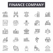 Finance Company Line Icons, Signs Set, Vector. Finance Company Outline Concept, Illustration: Financ poster