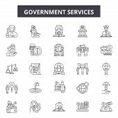 Government Services Line Icons, Signs Set, Vector. Government Services Outline Concept, Illustration poster