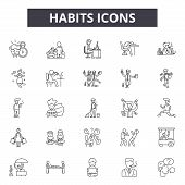 Habits Line Icons, Signs Set, Vector. Habits Outline Concept, Illustration: Habit, Health, Delifesty poster
