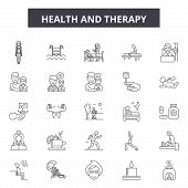 Health And Therapy Line Icons, Signs Set, Vector. Health And Therapy Outline Concept, Illustration:  poster