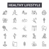 Healthy Lifestyle Line Icons, Signs Set, Vector. Healthy Lifestyle Outline Concept, Illustration: Fi poster