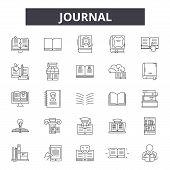 Journal Line Icons, Signs Set, Vector. Journal Outline Concept, Illustration: Dejournal, Paper, Medi poster