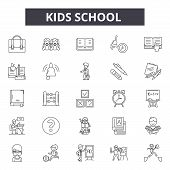 Kids School Line Icons, Signs Set, Vector. Kids School Outline Concept, Illustration: School, Educat poster