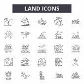 Land Line Icons, Signs Set, Vector. Land Outline Concept, Illustration: Land, Landscape, Farm, Field poster