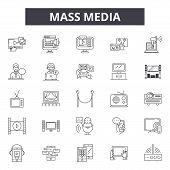Mass Media Line Icons, Signs Set, Vector. Mass Media Outline Concept, Illustration: Media, Mass, Tel poster