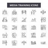 Media Training Line Icons, Signs Set, Vector. Media Training Outline Concept, Illustration: Media, T poster