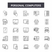 Personal Computers Line Icons, Signs Set, Vector. Personal Computers Outline Concept, Illustration:  poster