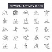 Physical Activity Line Icons, Signs Set, Vector. Physical Activity Outline Concept, Illustration: Ph poster