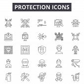 Protection Line Icons, Signs Set, Vector. Protection Outline Concept, Illustration: Protection, Secu poster