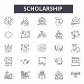 Scholarship Line Icons, Signs Set, Vector. Scholarship Outline Concept, Illustration: Education, Sch poster