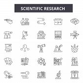 Scientific Research Line Icons, Signs Set, Vector. Scientific Research Outline Concept, Illustration poster