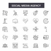 Social Media Agency Line Icons, Signs Set, Vector. Social Media Agency Outline Concept, Illustration poster