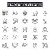 Startup Developer Line Icons, Signs Set, Vector. Startup Developer Outline Concept, Illustration: Bu poster