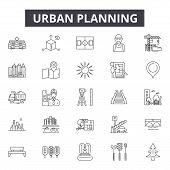 Urban Planning Line Icons, Signs Set, Vector. Urban Planning Outline Concept, Illustration: Plan, Ur poster