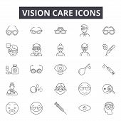Vision Care Line Icons, Signs Set, Vector. Vision Care Outline Concept, Illustration: Vision, Care,  poster