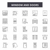 Window And Doors Line Icons, Signs Set, Vector. Window And Doors Outline Concept, Illustration: Door poster