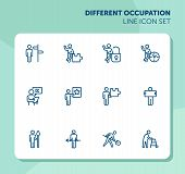 Different Occupation Line Icon Set. Direction Sign, Puzzle, Lock, Clock. Activity Concept. Can Be Us poster