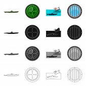 Vector Design Of War  And Ship Icon. Collection Of War  And Fleet Stock Vector Illustration. poster