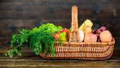 Vibrant And Colorful Vegetables. Homegrown Vegetables. Fresh Organic Vegetables Wicker Basket. Fall  poster