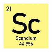 Illustration Of Periodic Table Element Scandium Icon On White Background poster