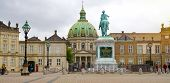 Copenhagen, Denmark - May 31, 2017: Panoramic Banner Of Amalienborg Slotsplads Square With The Eques poster