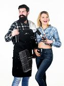 Beer And Bbq. Boyfriend And Girlfriend Using Barbecue Set. Happy Couple Ready For Cooking Barbecue.  poster