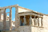 Porch Of World Famous Caryatids In Erechtheion On Acropolis Hill, Athens, Greece poster