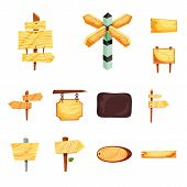 Vector Design Of Signboard  And Wood Icon. Set Of Signboard  And Wooden Stock Symbol For Web. poster
