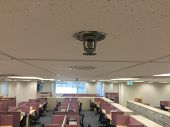 Automatic Ceiling Fire Sprinkler, Smoke Detector And Fire Alarm Control System  At The Office Buildi poster