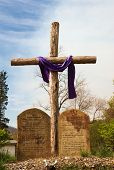 stock photo of forgiven  - A cross with the ten commandments in stone in front of it - JPG