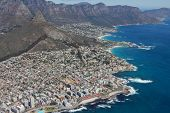 Aerial View Of Cape Town South Africa From A Helicopter. Panorama Cape Town South Africa From Birds  poster