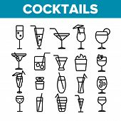 Cocktails, Alcohol And Soft Drinks Linear Icons Set. Alcoholic Beverages Thin Line Contour Symbols P poster