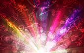 magic burst with music notes, abstract background poster