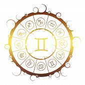 Astrological Symbols In The Circle. Golden Metallic Gradient. Twins Sign poster