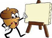 Cartoon Of Animated Acorn Painting On Easel poster