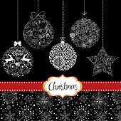 Black and White Christmas ornaments. Card template