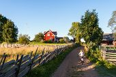 stock photo of track home  - Child riding a bicycle along a picturesque small farm lane in rural Sweden pedaling towards a traditional red painted timber house - JPG
