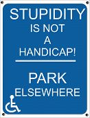 image of disabled person  - Actual sign for handicap parking for those who tend to ignore them - JPG