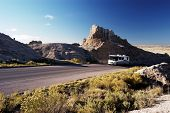 pic of motor coach  - vacationing in a recreational vehicle in the badlands national park - JPG