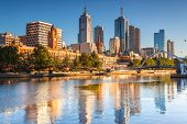 stock photo of cbd  - The Melbourne skyline looking across to Flinders Street station - JPG