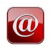 Email Symbol Icon Red, Isolated On White Background