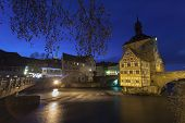 image of regnitz  - old Rathaus in Bamberg Germany at night - JPG