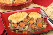pic of biscuits gravy  - Beef stew with carrots peas and biscuits - JPG