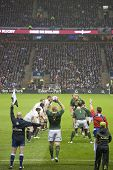 TWICKENHAM LONDON - NOVEMBER 23: Adriaan Struass takes lineout throw at England vs South Africa, Eng