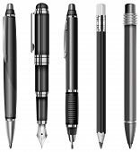 image of mechanical drawing  - Set of black pens and pencils isolated on white vector illustration - JPG
