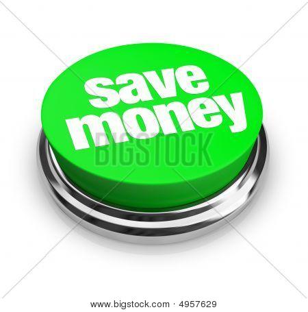 Постер, плакат: Экономите деньги зеленая кнопка