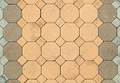 stock photo of octagon  - the brick octagonal walkway pavement texture background - JPG