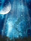 stock photo of cloud forest  - fantasy landscape with big moon in the forest - JPG