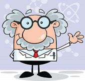stock photo of professor  - Funny Scientist Or Professor Smiling And Waving Cartoon Character - JPG